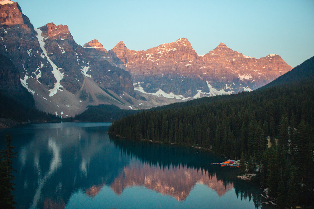 Sunrise at Moraine Lake in Banff National Park