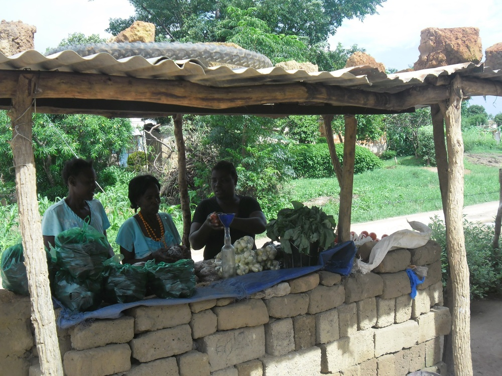 Nsugeni Women Group # 2 displaying their produce at the local market.