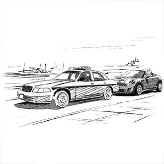 Policecar stalking.