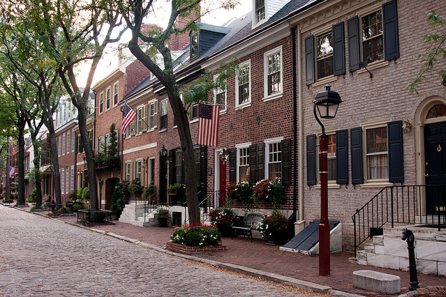 Philadelphia red brick rowhouses