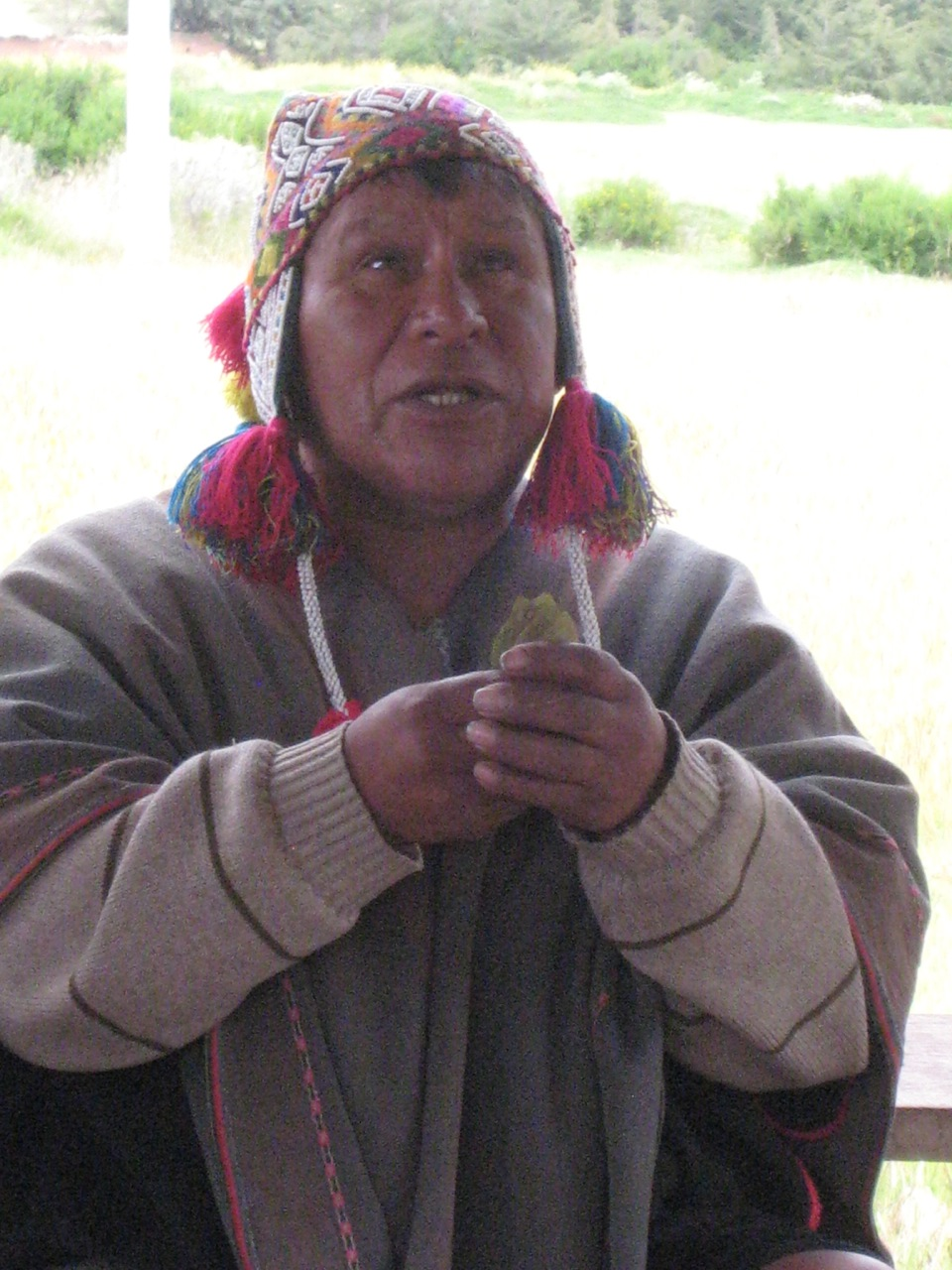A shaman blessing, with cocoa leaves