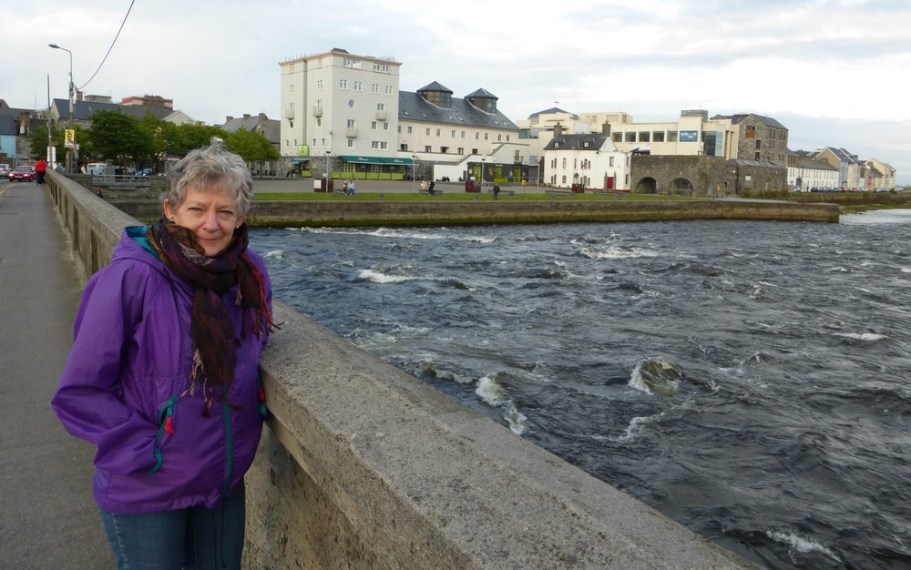 The River Corrib in  Galway , the second largest river in Ireland. Behind me is the last remaining part of the old city walls and the Spanish Arch.