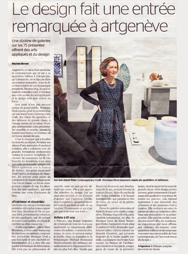 Tribune de Genève 29 January 2015