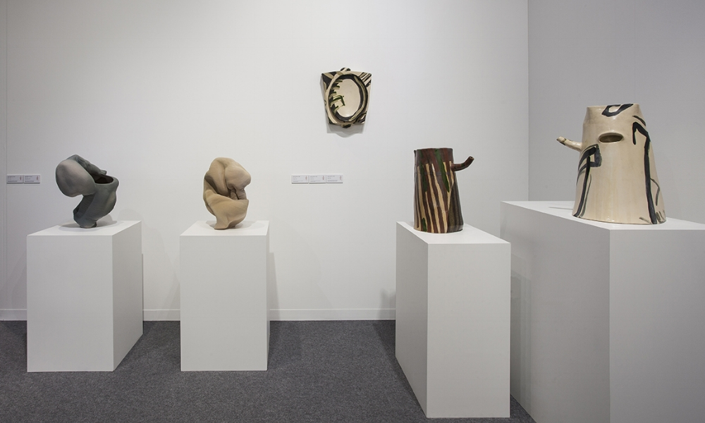 Work by [left to right] Anne Marie Laureys and Alison Britton.