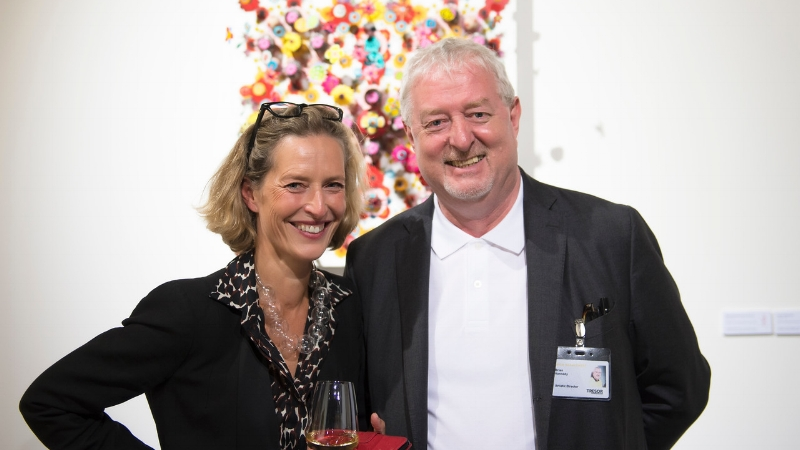 Director of Taste Contemporary, Monique Deul, pictured with Brian Kennedy, Artistic Director of TRESOR Contemporary Craft, at the Vernissage.