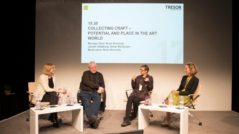 Director of Taste Contemporary Craft, Monique Deul, participating in one of the talks at TRESOR Contemporary Craft with [left to right] Annie Warburton, Crafts Council UK;Brian Kennedy, Artistic Director of TRESOR and Jorunn Veiteberg, Professor of Curatorial Studies and Craft Curator..