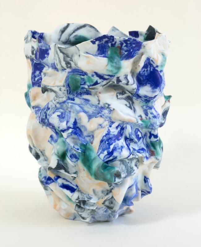 La Naissance du Paysage,  2017 Porcelain, pigments and glaze, 37 H x 27 W x 27 D cm