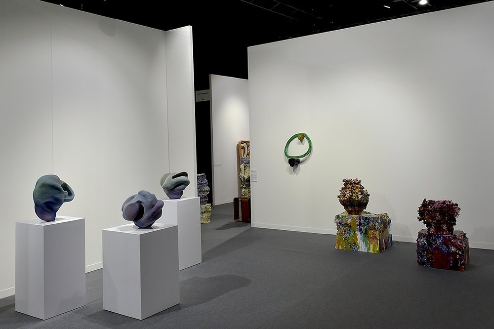 Group exhibition at artgenève 2019 featuring work by [left to right] Anne Marie Laureys, Pernille Braun and Virginia Leonard.