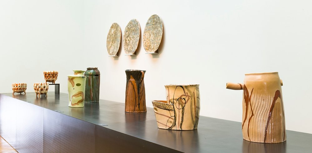 Work by [left to right] Marit Tingleff and Alison Britton
