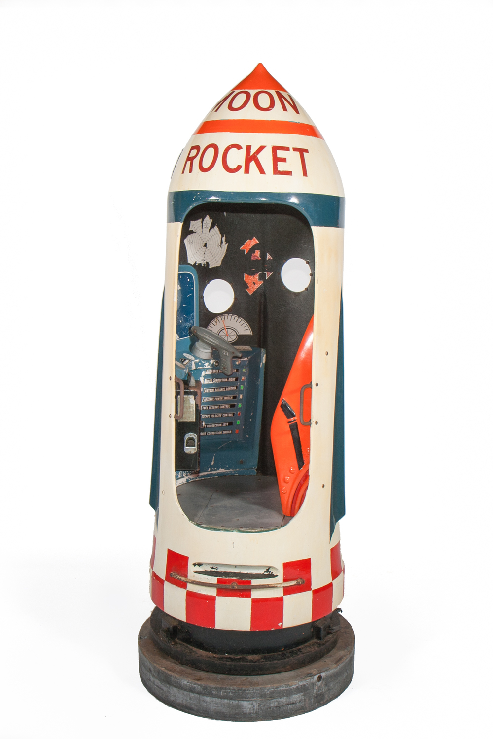 "Coin-Op Amusement Ride – ""Moon Rocket"" (Kiddielane Mfg. Corp., from Atlantic Beach Park, RI 1961) - Height 6'9"""
