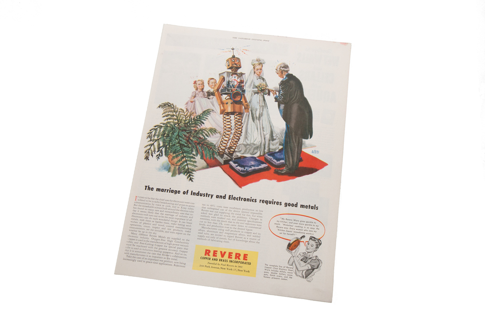 Magazine Advertisement – Marriage of Industry and Electronics – Revere (Saturday Evening Post – illustration by Albert Dorne circa 1950)