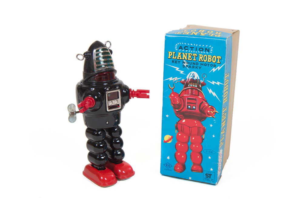 Action Planet Robot Wind-Up Tin Toy with Box (Yoshiya - Japan circa 1958) - Height 9""