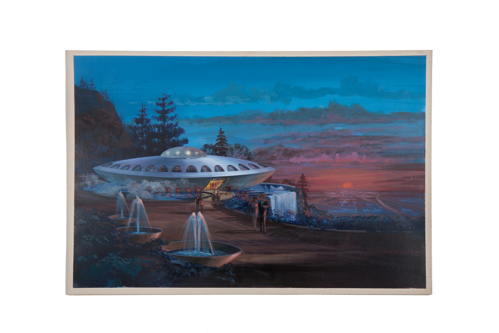 Architectural Concept Painting: Flying Saucer Restaurant by Boyd (1971) acrylic