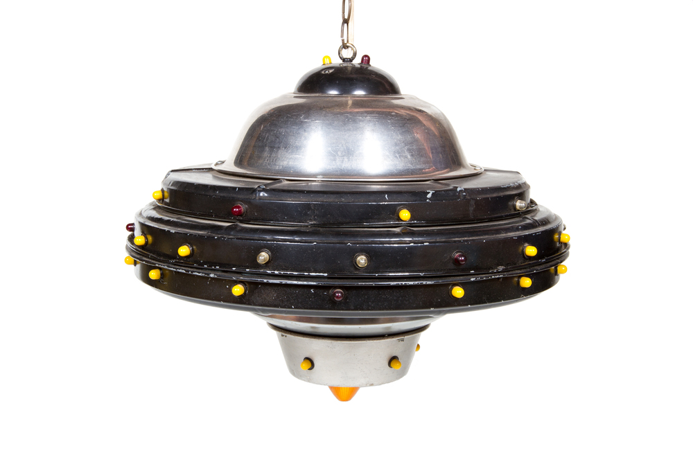 Homemade Flying Saucer Light Fixture Fashioned from Parts (date unknown)