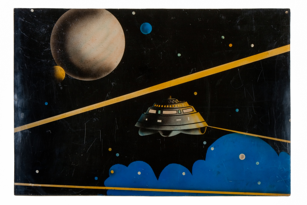 "Arcade Art Painting on Plexiglas – Flying Saucer, Planet and Moons (circa 1975) - 24"" x 36"""