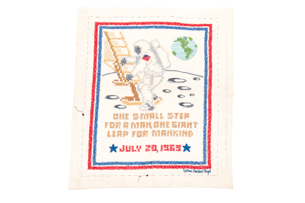 Needlepoint Sampler – Apollo 11 Moon Landing (circa 1969)
