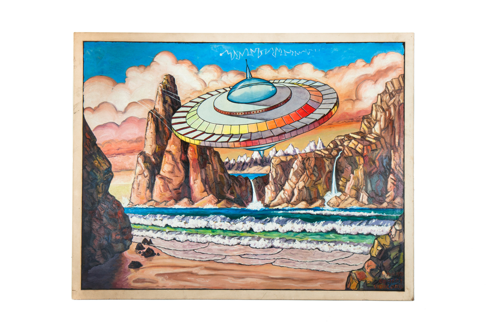 "Painting of Spaceship / UFO by Robert Vidoloff (1967) - 26"" x 22"" acrylic"