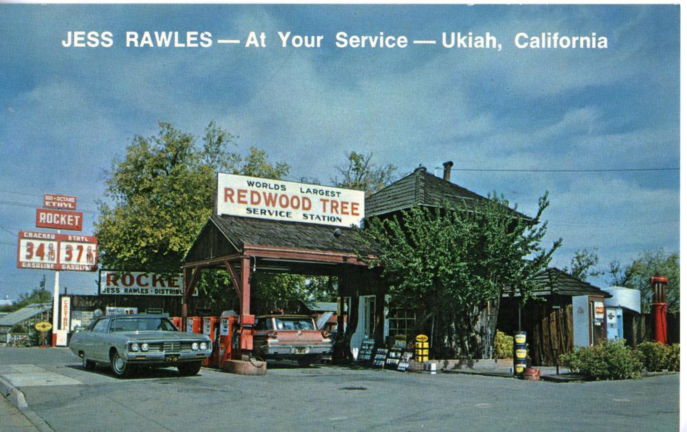 "Gas Station Sign - ""Rocket"" Gasoline (Ukiah, CA Postcard circa 1965)"