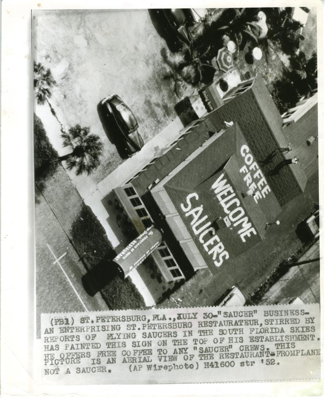 "Rooftop Restaurant Sign - ""Welcome Saucers"" (St. Petersburg, FL 1952)"