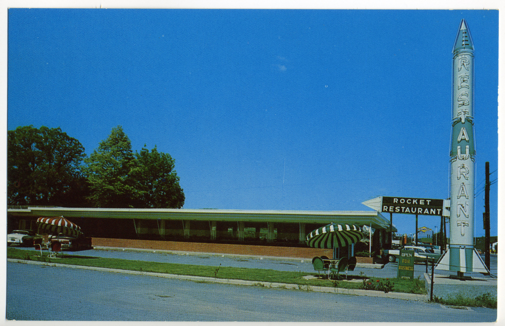 "Neon Sign - ""Linden Springs Motel and Rocket Restaurant"" (Staunton, VA Postcard circa 1964)"
