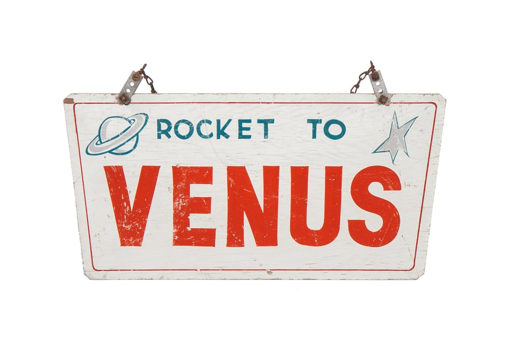 "Amusement Ride Sign – ""Rocket to Venus"" (circa 1955)"