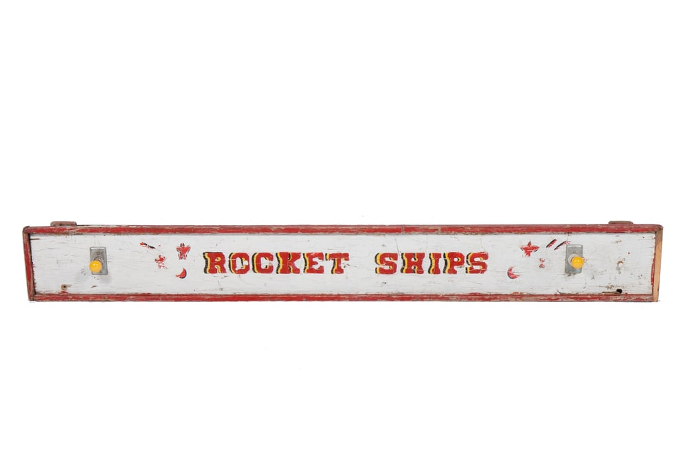 "Amusement Ride Sign – ""Rocket Ships"" (circa 1954) - 7'8"" x 11"""