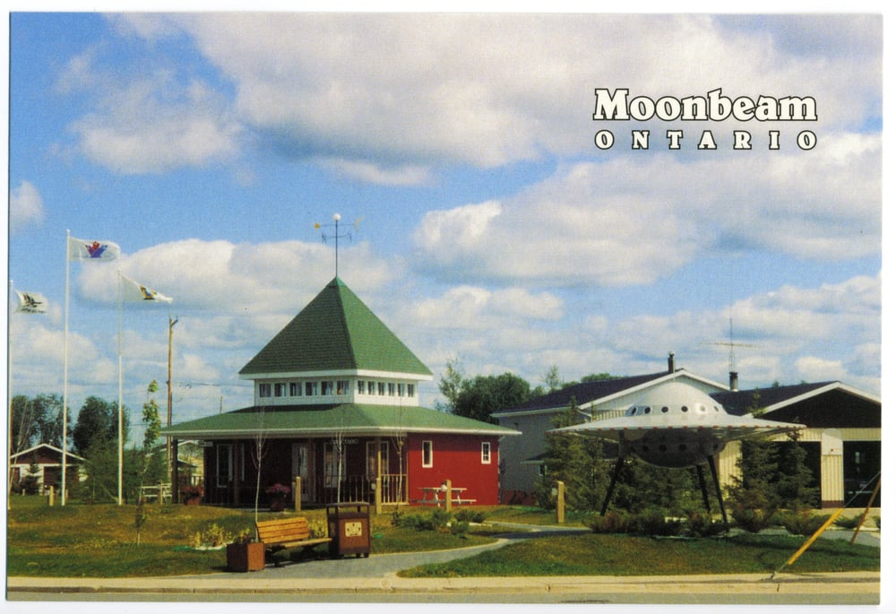 Roadside Flying Saucer - (Moonbeam, Ontario Postcard circa 1980)