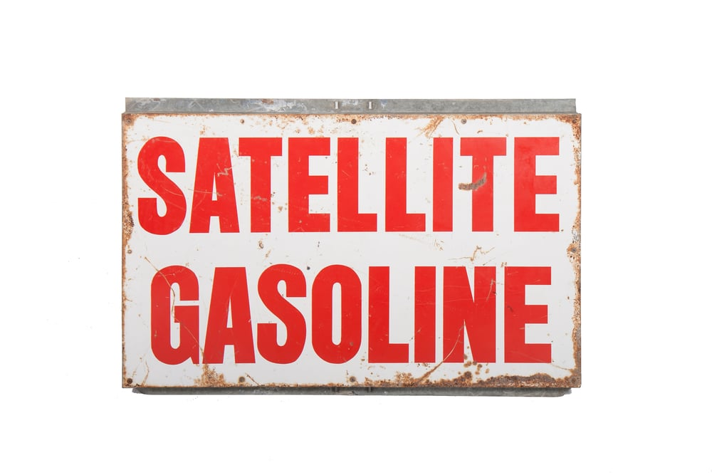 "Gas Station Sign - ""Satellite Gasoline"" (Circa 1960) 40"" x 24"""