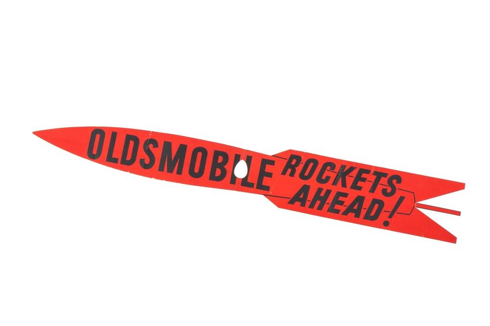 """Cardboard Sign - """"Rockets Ahead"""" (Oldsmobile circa 1958) 5'0"""""""