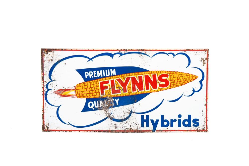 "Metal Sign - ""Flynns Premium Quality Hybrids"" (circa 1960) 24"" x 12"""