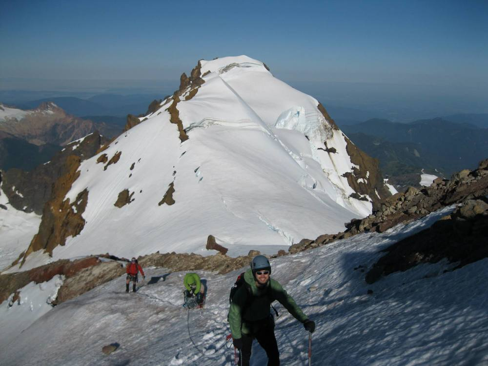 Here's my teamclimbingat 9,500 ft—just 1,300 ft below the summit. Colfax Peak is in the background.