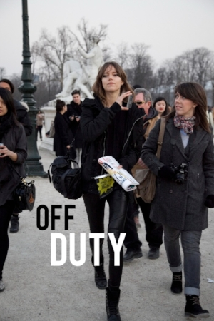 The term 'off-duty' generated from the street style of models in between shows and now applies to all casual not-suitable-for-work wear such as hoodies and cashmere track pants. Above all, off duty taps into our desires to return to the leisurely state if childhood, when we were unencumbered by duties and tasks.  - Pictured: Freja Beha Erichsen in Paris
