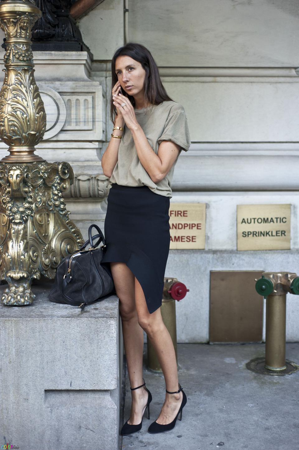 Vogue Paris fashion editor-at-large Geraldine Saglio in solid colors.