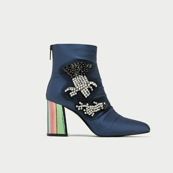 BEJEWELLED SATIN HIGH HEEL ANKLE BOOTSDETAILS  89.99 GBP