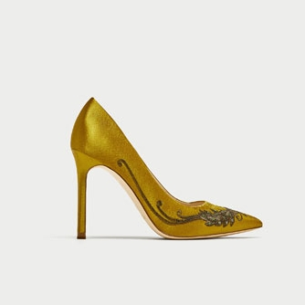 SATIN COURT SHOES WITH EMBROIDERED BEADING  49.99 GBP