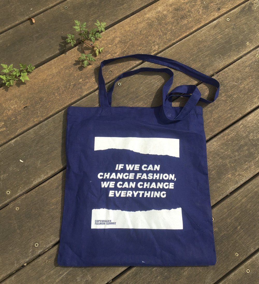 A goodie bag from Copenhagen Fashion Summit 2018.