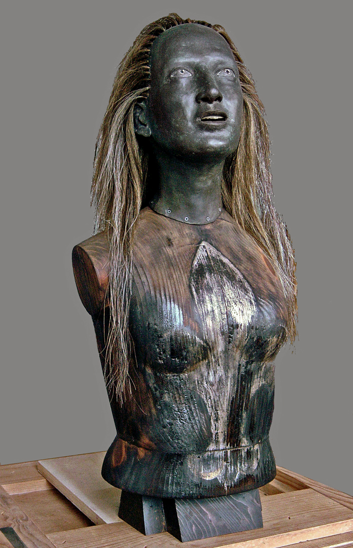 5. JudithSHEA, JOAN FOR TWAIN, 2000, wood, bronze, horsehair.jpg