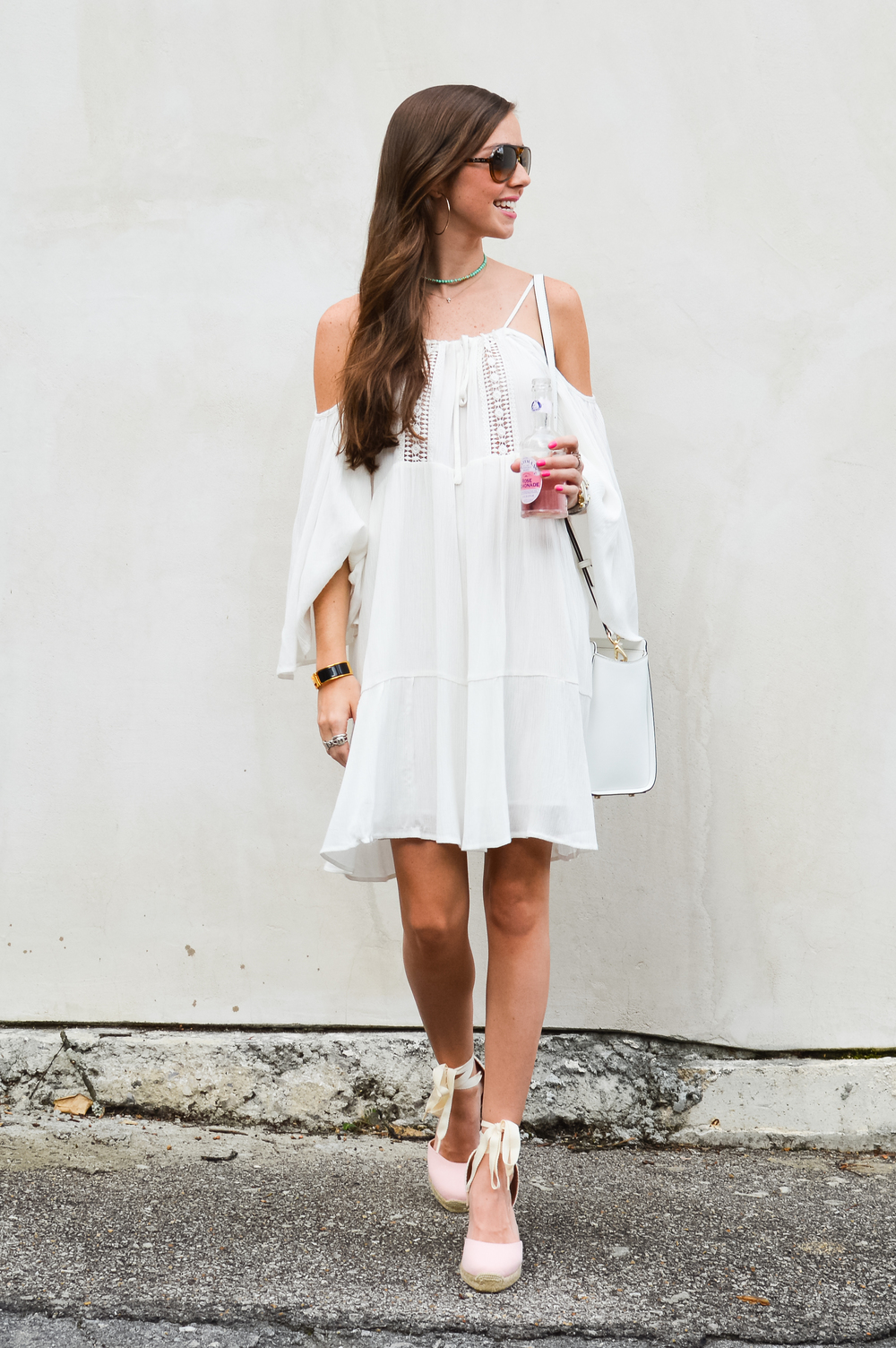White Dress + Pink Lace Up Espadrilles — LCB STYLE