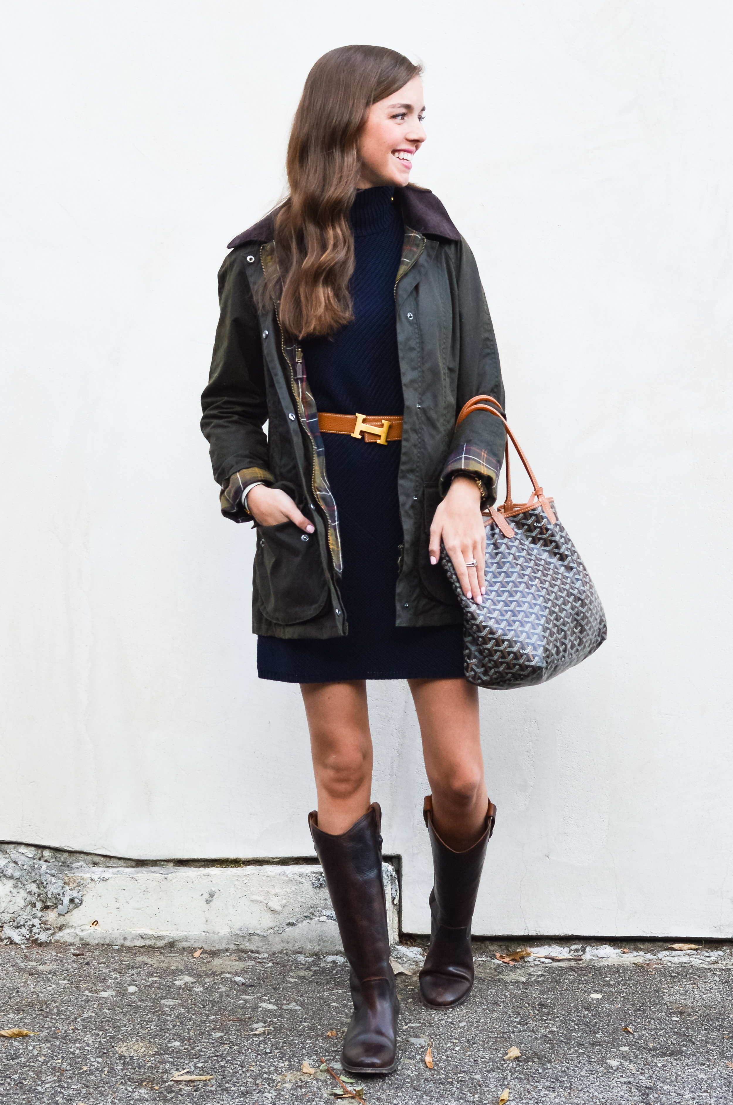 bf30188e454 fashion blogger lcb style tory burch sweater dress frye boots barbour  beadnell jacket (5 of