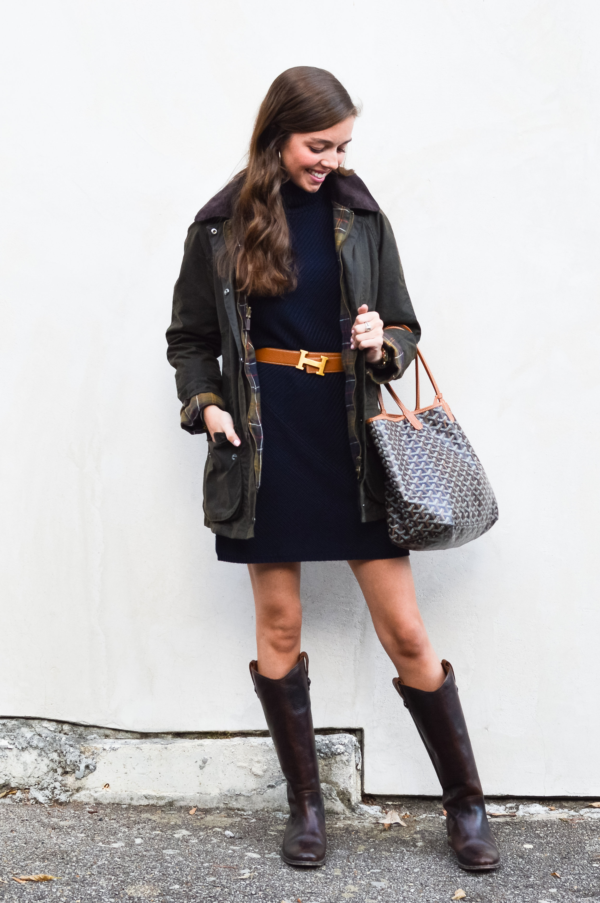 dc62fab47 fashion blogger lcb style tory burch sweater dress frye boots barbour  beadnell jacket (12 of