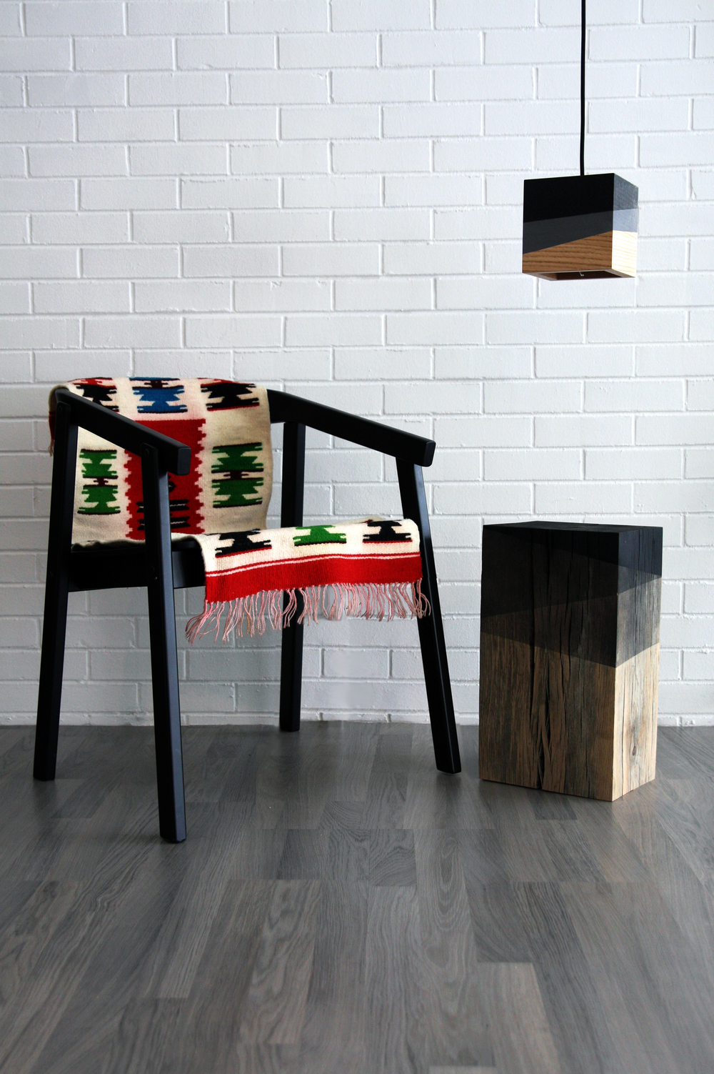 Solid Timber Side Table with Charred Stripe Details