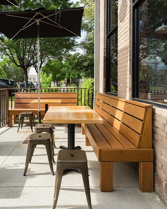 Enjoy the last bit of summer out on the patio of @white_pie_denver and check out our custom table tops and benches! . . . . #wood #furniture #patio #custom #restaurant #denver #colorado #whitepie #woodworking #design #build #platformworkshop 📷: @jessblackwellphoto