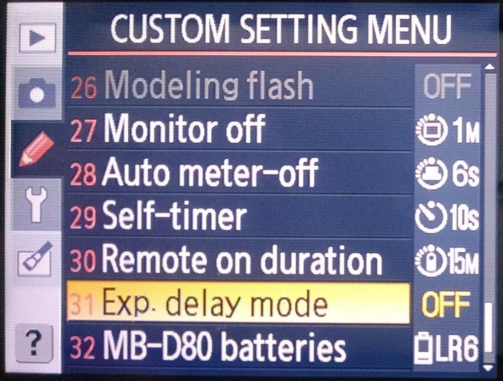 D80 CSM31 - Exposure delay mode.