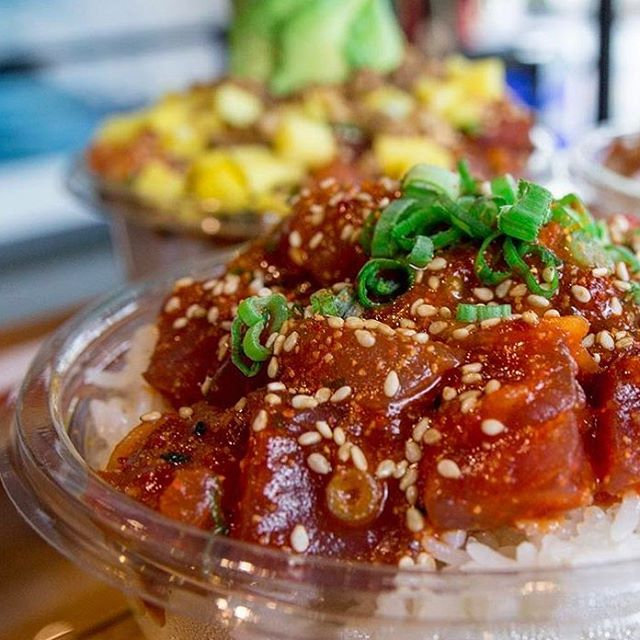 Come get a taste of the islands! 🏝 We serve the best tasting poké on the mainland! #northshorepoke 🐟