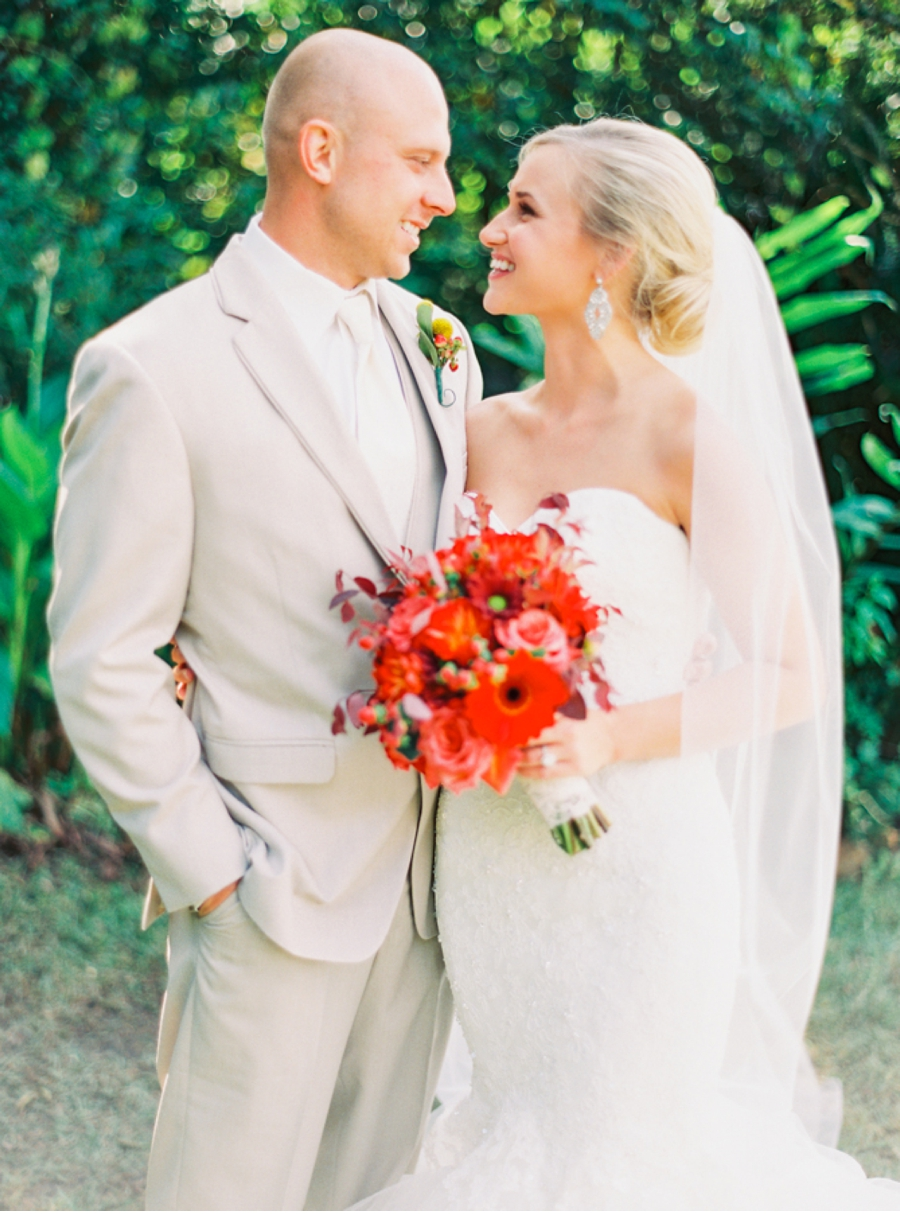 Bride and Groom with Holiday Florals