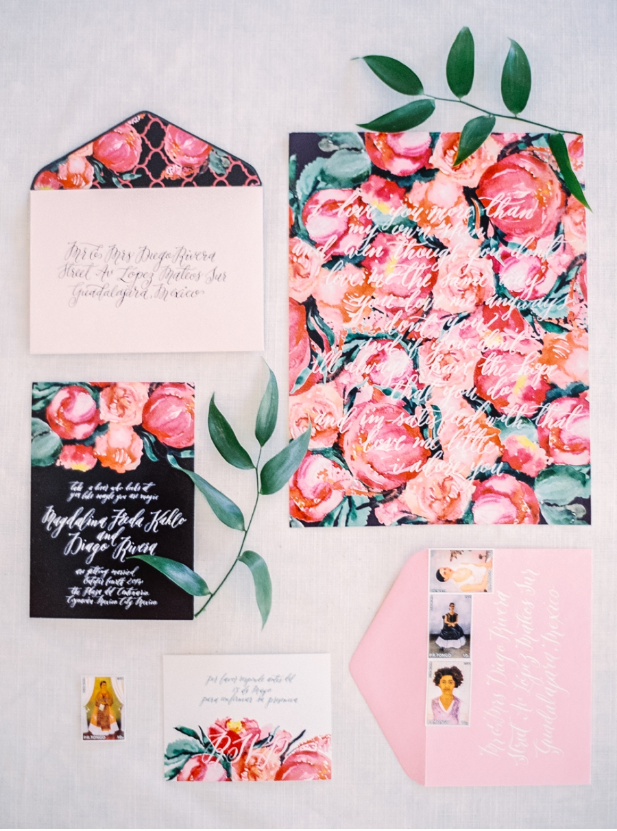 1. Explosive colour paired with sophisticated styling -- a perfect look for spring or summer weddings, all inspired by the artist Frida Kahlo.  More from this shoot  here  with photos by  Justine Milton  and calligraphy by  Casa Deller Designs .