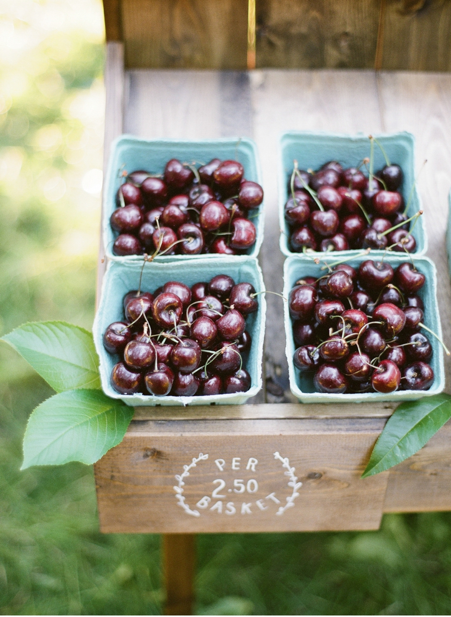 2. Delicate designs wake up this classic fruit stand for an orchard-inspired shoot photographed by   Blush Wedding Photography  .  View more from this post   here  .  Signage by Madison Heglund.