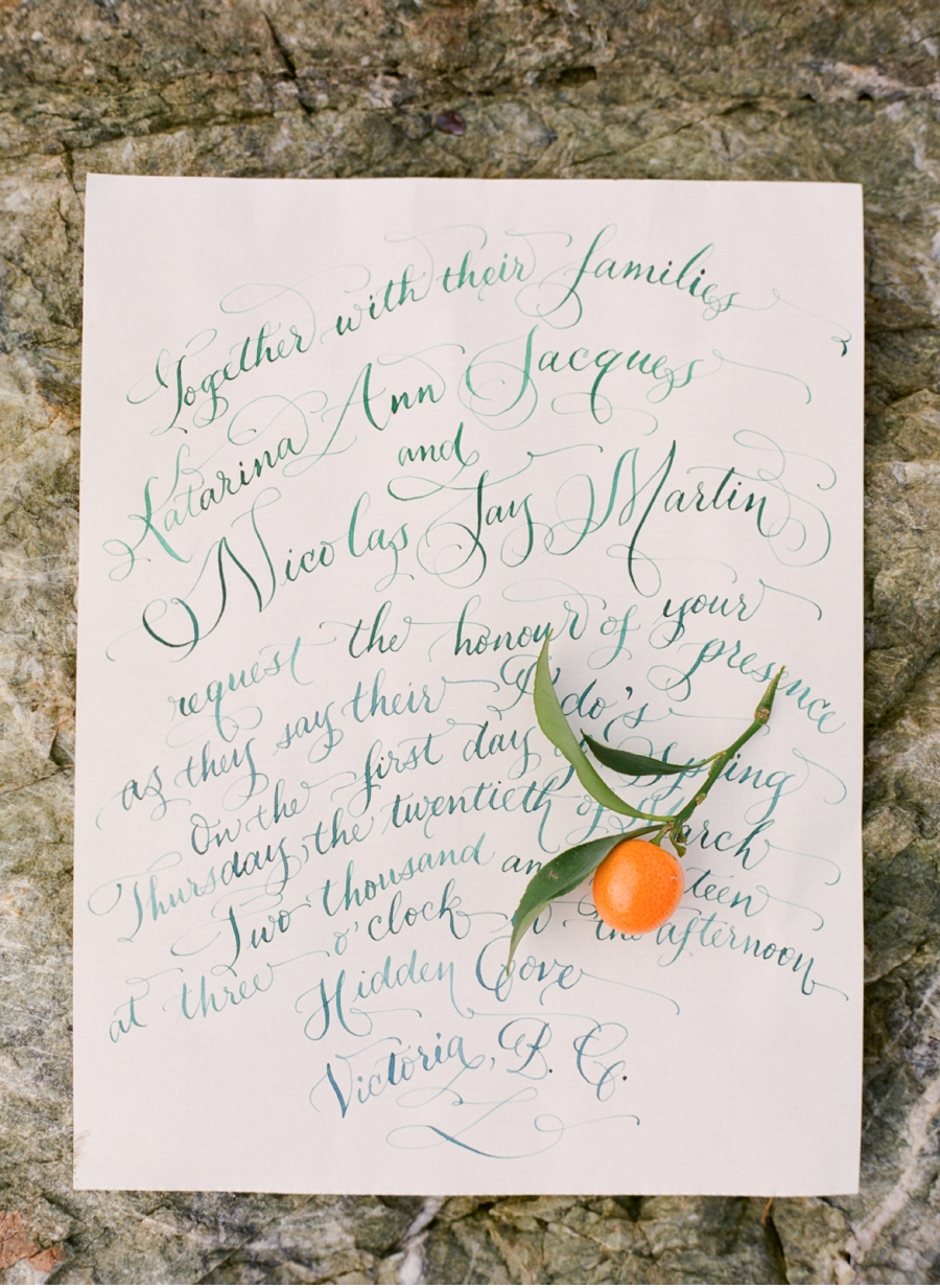 5. Fanciful and nautical without falling into stereotypes, this is one of my favourite invitations featured on Vale + Vine.  Calligraphy by   Laura Lavender   and photography by   Adrian Michael Photography  .  Check out the full citrus-inspired feature   here.