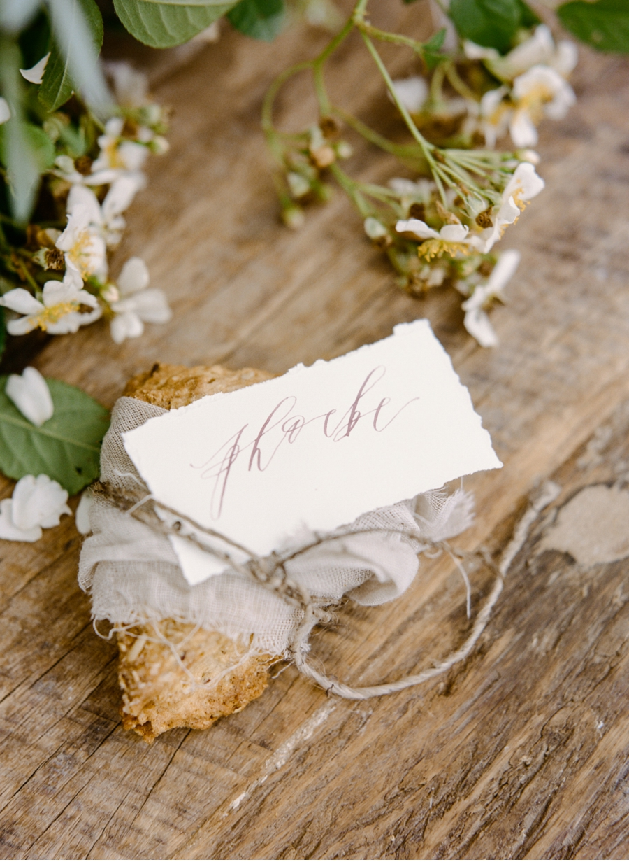 11. What a pretty way to wrap a treat!  Calligraphy by   Written Word Calligraphy   and photography by   Rebecca Yale Photography.    Full shoot   here  .