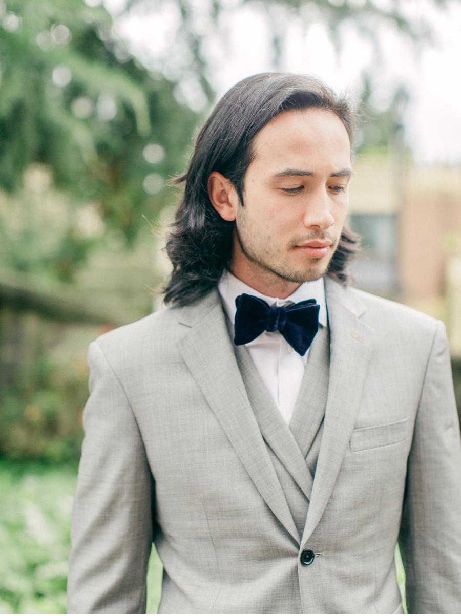 Grooms-Attire-Grey-Suit-Velvet-Bowtie